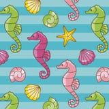 Het patroon van Seahorses royalty-vrije illustratie