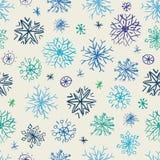 Het patroon van sneeuwvlokkrabbels Stock Afbeeldingen