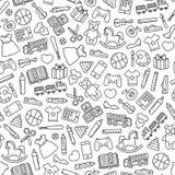 Het patroon van speelgoedpictogrammen royalty-vrije stock foto's