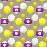 Het patroon van sportballen winnen de naadloze toernooien als achtergrond om het materiaal vectorillustratie van het mandvoetbal Stock Foto