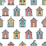 Het patroon van strandhutten, gekleurde, vlakke stijl stock illustratie