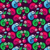 Het patroon van vectorkinderen met kleurrijke kameleonen Achtergrond met reptielen royalty-vrije illustratie