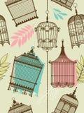 Het patroon van Vintag met birdcages Stock Fotografie