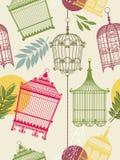 Het patroon van Vintag met birdcages Stock Foto's