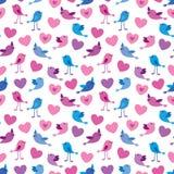 Het patroon van vogels en van harten Stock Afbeeldingen