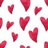 Het patroon van het waterverfhart Hand geschilderde harten op witte achtergrond Ontwerp voor groetkaarten, huwelijk, verjaardag royalty-vrije illustratie