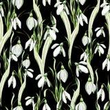 Het patroon van het waterverfhuwelijk met sneeuwklokjebloemen vector illustratie