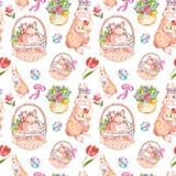 Het patroon van waterverfpasen met leuke konijntjes, Pasen-mand en de lente bloeit op witte achtergrond royalty-vrije stock afbeelding