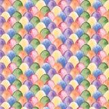 Het patroon van waterverfpasen met multicolored eieren Stock Foto's