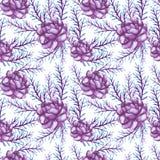 Het Patroon van waterverfviolet peonies and leaves seamless Stock Foto's