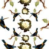 Het patroon van waterverfvogels Stock Afbeelding