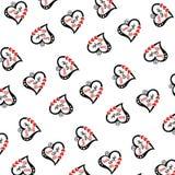 Het patroon van willekeurige liefde en zoete teksten vector illustratie