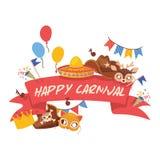 Het patroon vector grappig GLB van de beeldverhaalhoed voor vierende de verjaardagspartij van Carnaval met de hoed van de headwea royalty-vrije illustratie