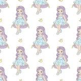 Het Patroon Vectorillustratie van Fairy Tale Seamless van de HOOFDKUSSENprinses vector illustratie