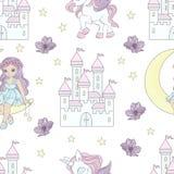 Het Patroon Vectorillustratie van Fairy Tale Seamless van de MAANprinses royalty-vrije illustratie
