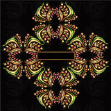 Het patroon zwarte achtergrond van de luxe dwarsbloem Royalty-vrije Stock Foto's