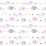 Het patroonachtergrond van de eenhoornverjaardag met bunting vlaggen en wolken vector illustratie