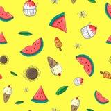 Het Patroonachtergrond van de watermeloenzomer Stock Foto
