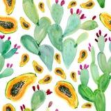 Het patroonachtergrond van de waterverf naadloze cactus Royalty-vrije Stock Afbeelding