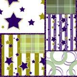 Het patroonachtergrond van lapwerk naadloze retro geruite sterren Royalty-vrije Stock Foto's