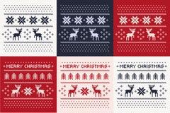 Het patroondruk van de Kerstmiswinter voor Jersey of t-shirt wordt geplaatst die Pixeldeers en Kerstmisbomen Stock Foto