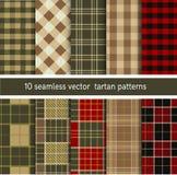 Het patrooninzameling van de geruit Schots wollen stof naadloze plaid Vectorreeks als achtergrond Stock Afbeelding