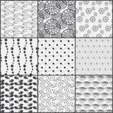 Het patroonreeks van de lijn zwart-witte aard royalty-vrije illustratie