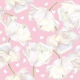 Het patroonroze van tulpenharten Royalty-vrije Stock Foto's