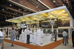 Het paviljoen van de Tawazunbewapening in Abu Dhabi International Hunting en Ruitertentoonstelling 2013 royalty-vrije stock foto