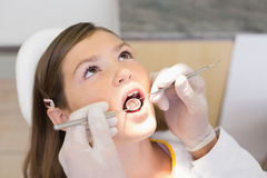 Het pediatrische tandarts onderzoeken kleine meisjestanden als tandartsenvoorzitter Royalty-vrije Stock Fotografie
