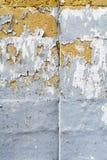Het pellen van grijze verf op kalksteenbaksteen Stock Foto's