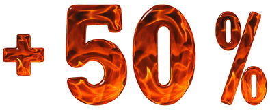Het percent komt ten goede, plus 50, fift aan percenten dat, cijfers op wh worden geïsoleerd Stock Fotografie