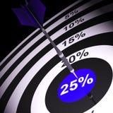 25 het percent op Dartboard toont Bonus Stock Fotografie