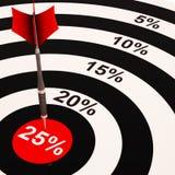 25 het percent op Dartboard toont Geselecteerde Kortingen Royalty-vrije Stock Afbeeldingen