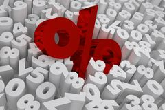Het percententeken op witte 3d cijfersverkoop geeft terug Royalty-vrije Stock Afbeelding