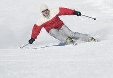 Het perfecte bergaf skiån stock afbeeldingen