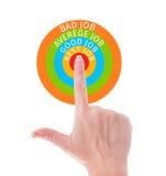 Het perfecte concept die van het baanonderzoek hand poiting centrum van doel gebruiken Stock Foto