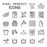 Het perfecte die pictogram van het wasserijpixel met was en huishoudelijk werkconcept wordt geplaatst royalty-vrije stock foto