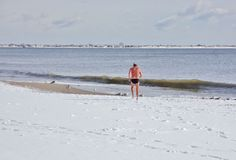 Het perfecte zwemmen na sneeuwstorm in New York Royalty-vrije Stock Foto's