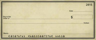 Het perkamentachtergrond van de blanco cheque royalty-vrije stock afbeeldingen