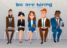 Het personeel interviewt Rekrutering Job Concept Wij huren tekst Royalty-vrije Stock Foto