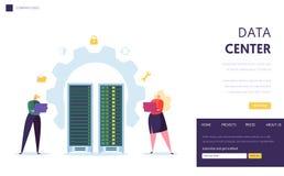 Het Personeelslandingspagina van de Data Centerserver Bedrijfskaraktersteun Datacenter met Laptop Computerdatabase het Ontvangen royalty-vrije illustratie