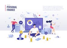 Het persoonlijke Concept van de Financi?n Vlakke Illustratie vector illustratie
