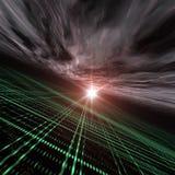 Het Perspectief van de horizon over het Lichte Net van de Stad Royalty-vrije Stock Foto
