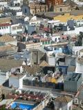 Het perspectief van de stad met daken Stock Afbeelding