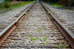 Het Perspectief van het spoorwegspoor met Grey Gravel en Groen Onkruid royalty-vrije stock fotografie