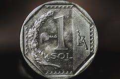 1 het Peruviaanse muntstuk van de nuevosol Stock Afbeelding