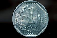 1 het Peruviaanse muntstuk van de nuevosol Stock Foto's