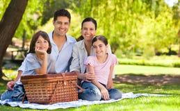 Het picnicking van de familie in het park Royalty-vrije Stock Afbeelding