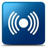 Het pictogram blauwe vierkante knoop van het netwerksignaal Stock Afbeeldingen